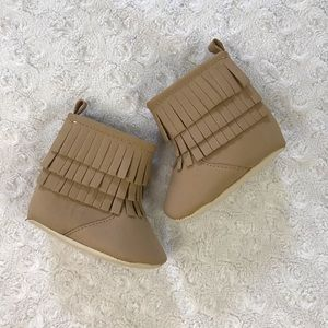 Old Navy Tiered Fringe Baby Girl Boots Tan 0-3M